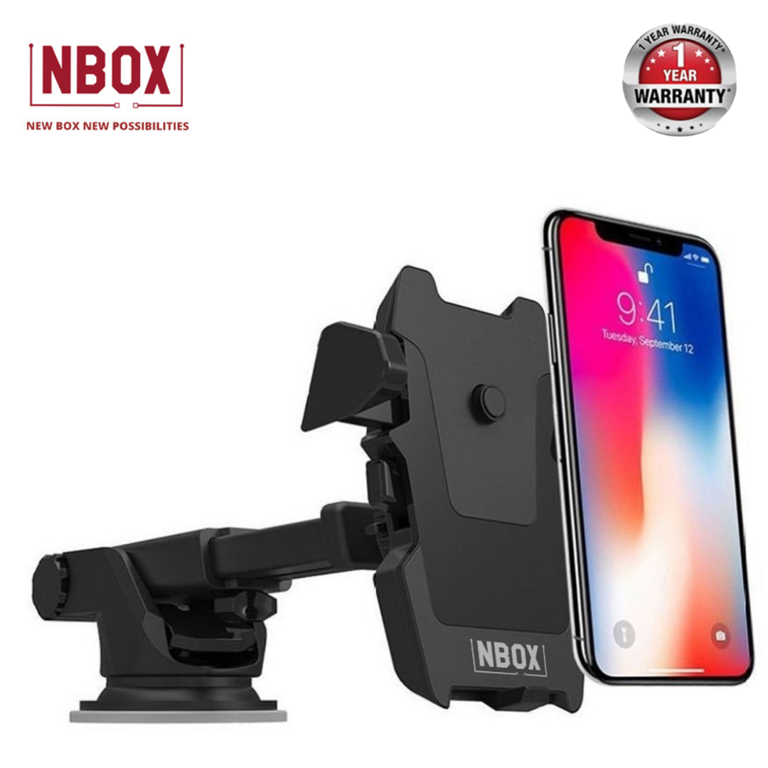NBOX Car Mount Adjustable Universal Phone Holder with Long Arm for Dashboard & Windshield for Smartphones-Black