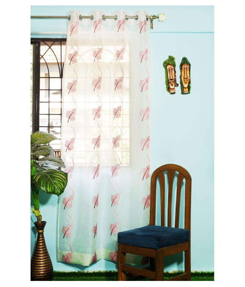 PardaOnline Single Window Semi-Transparent Eyelet Polyester Curtains Pink