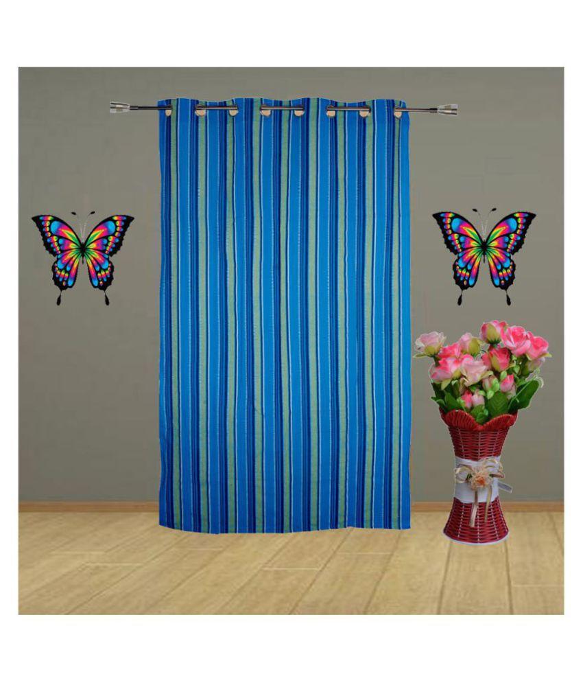 HOMEFLY Single Door Blackout Room Darkening Eyelet Cotton Curtains Blue