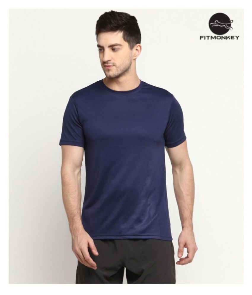FITMonkey Navy Polyester T-Shirt Single Pack