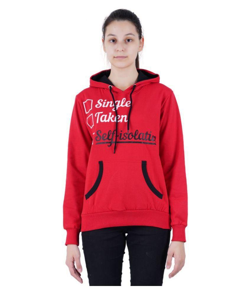Zebu Cotton - Fleece Red Hooded Sweatshirt