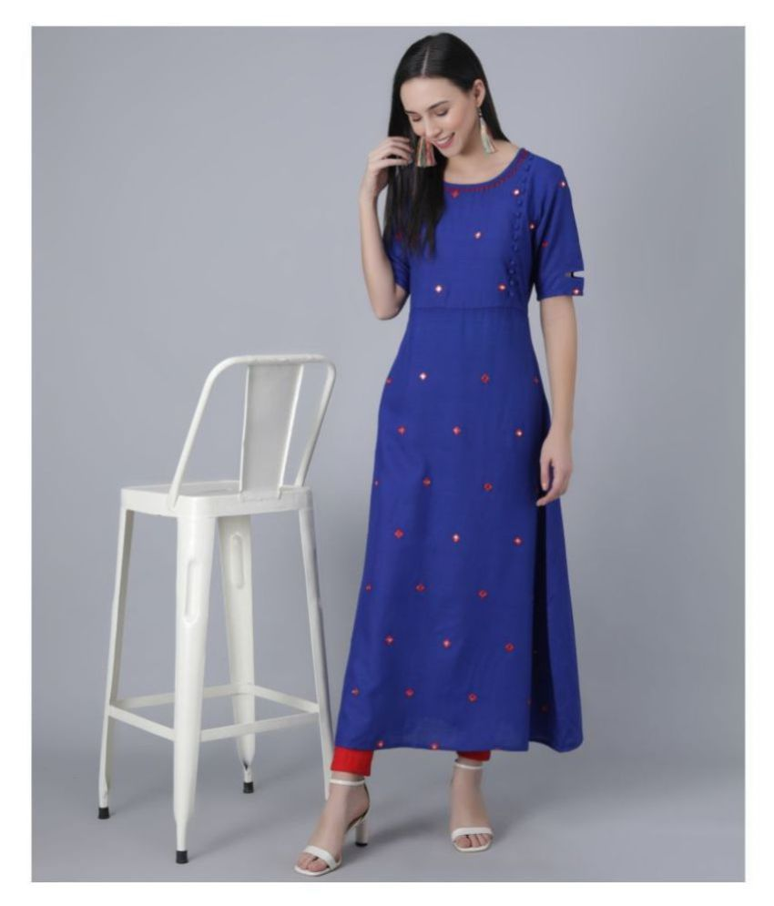 Frionkandy Rayon Blue A- line Dress