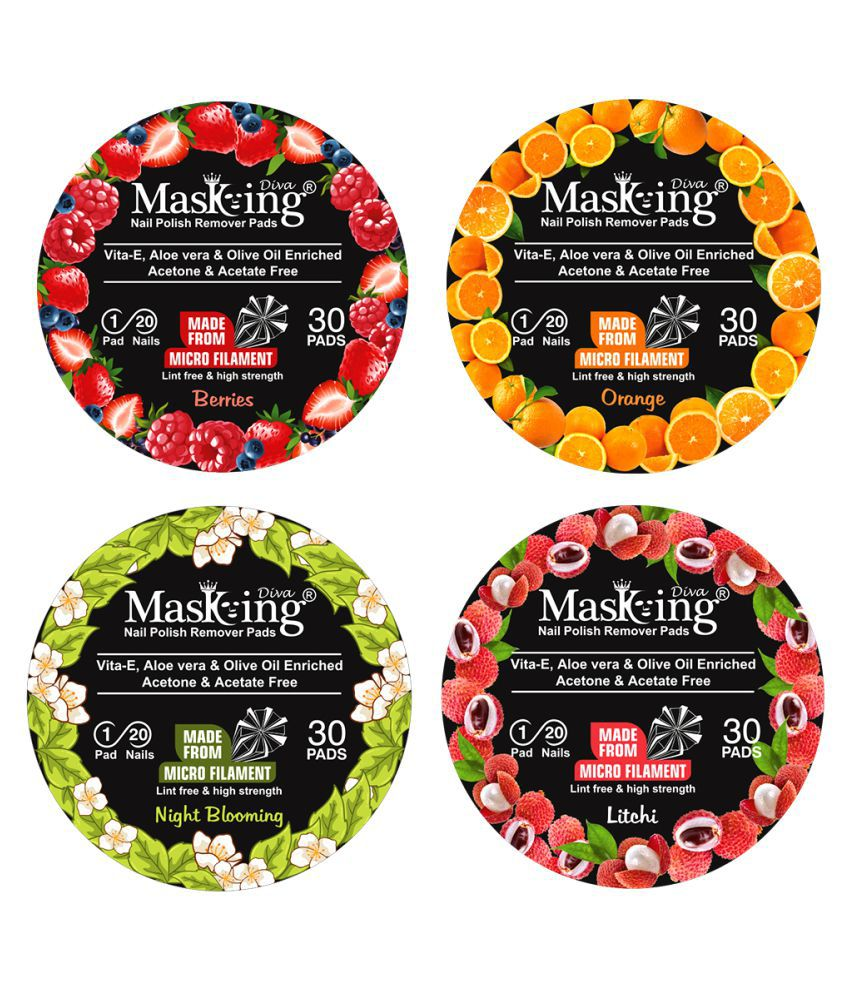 Masking Berries, Orange, Litchi & Night Blooming Nail Paint Remover Pads 80 mL Pack of 4