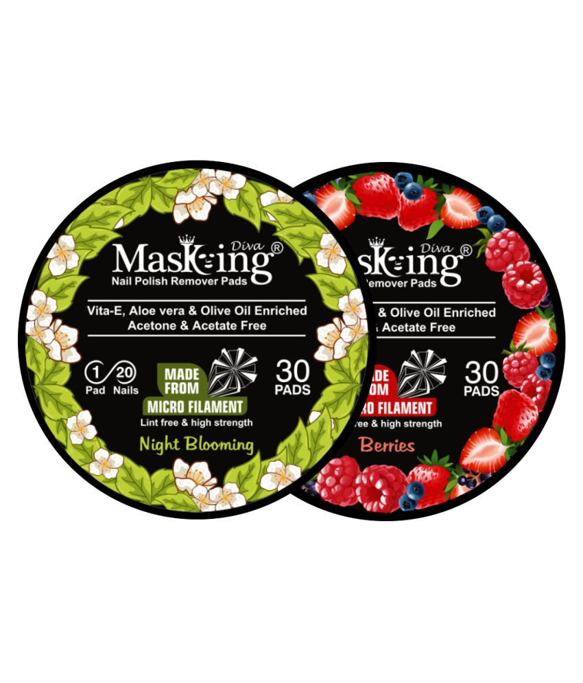 Masking Diva Night Blooming & Berries Nail Paint Remover Pads 40 mL Pack of 2