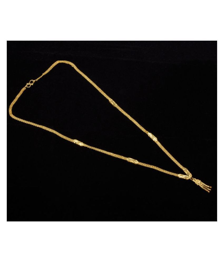 Piah Fashion Brass Golden Traditional Necklace Long Haram
