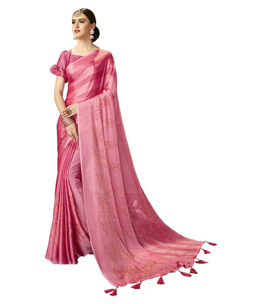 Triveni Pink Chiffon Saree