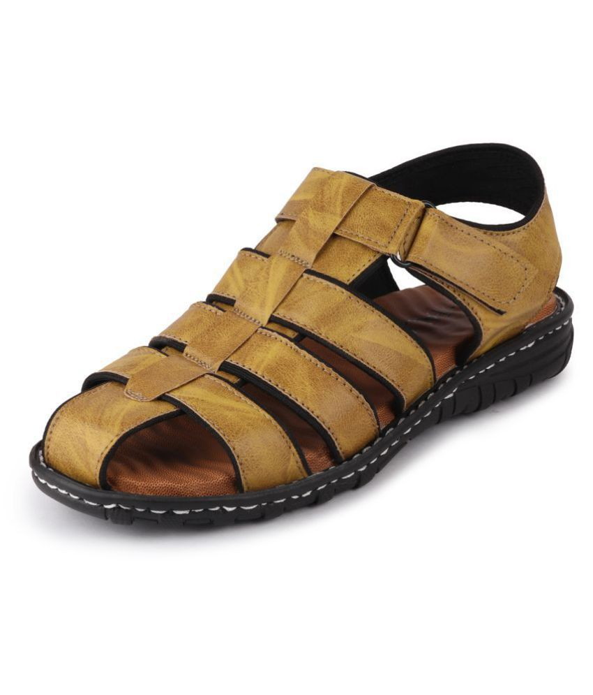Fausto Tan Synthetic Leather Sandals