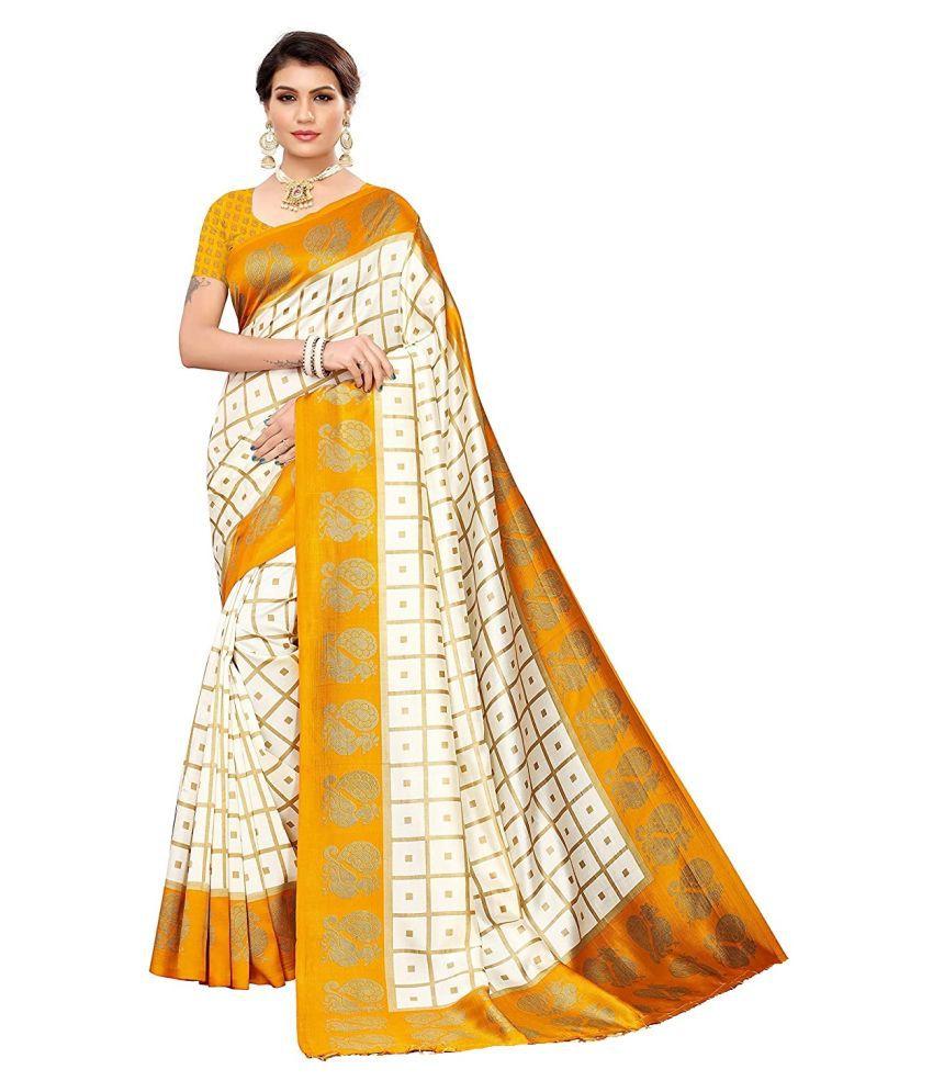 kaushaley yellow Art Silk Saree