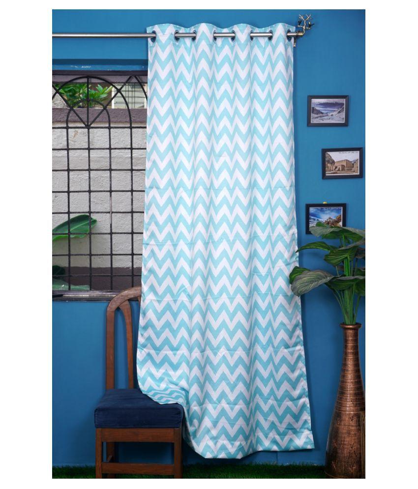 PardaOnline Single Window Blackout Room Darkening Eyelet Polyester Curtains Blue