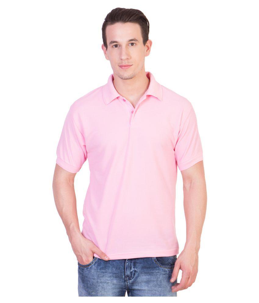 HVN Cotton Blend Pink Plain Polo T Shirt