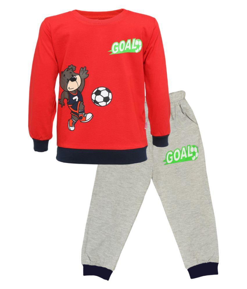 CATCUB Kids Cotton  Printed Clothing Set (Red)