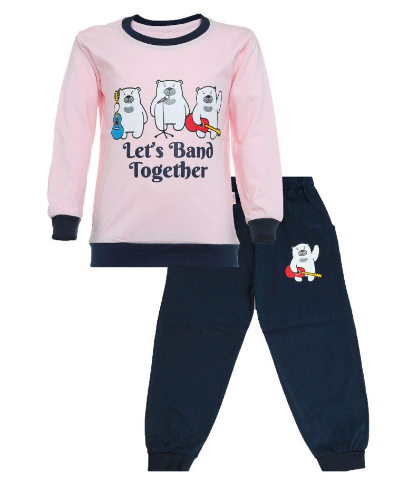 CATCUB Kids Cotton  Printed Clothing Set (Pink)