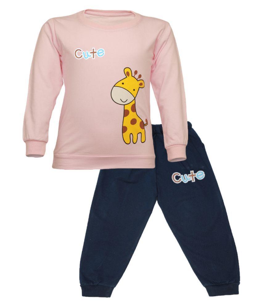 CATCUB Kids Cotton Cute Giraffe Printed Clothing Set (Pink)