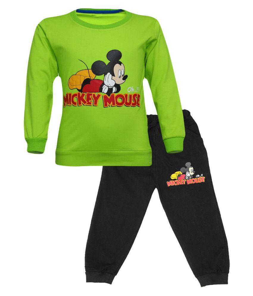 CATCUB Kids Cotton Mickey Mouse Printed Clothing Set (Green)