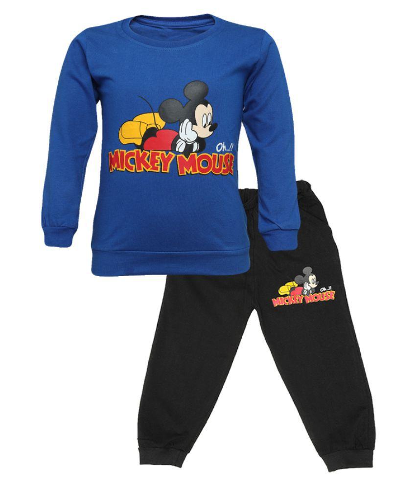 CATCUB Kids Cotton Mickey Mouse Printed Clothing Set (Blue)