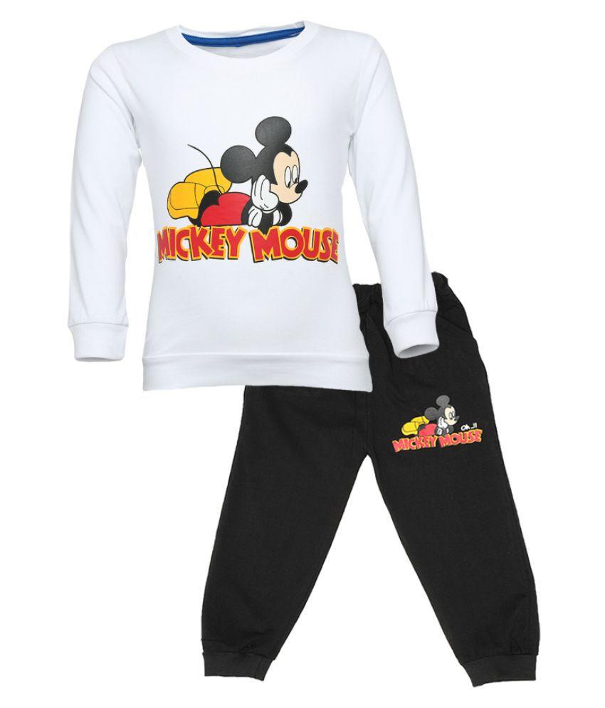 CATCUB Kids Cotton Mickey Mouse Printed Clothing Set (White)