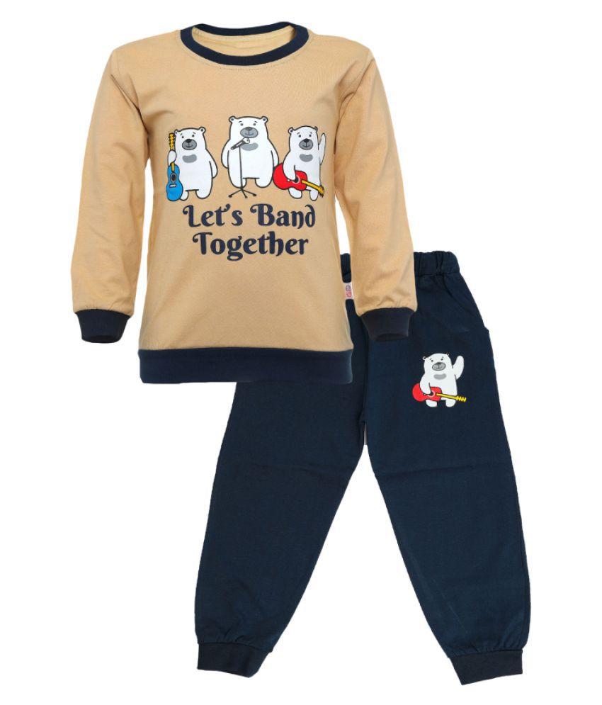 CATCUB Kids Cotton  Printed Clothing Set (Beige)