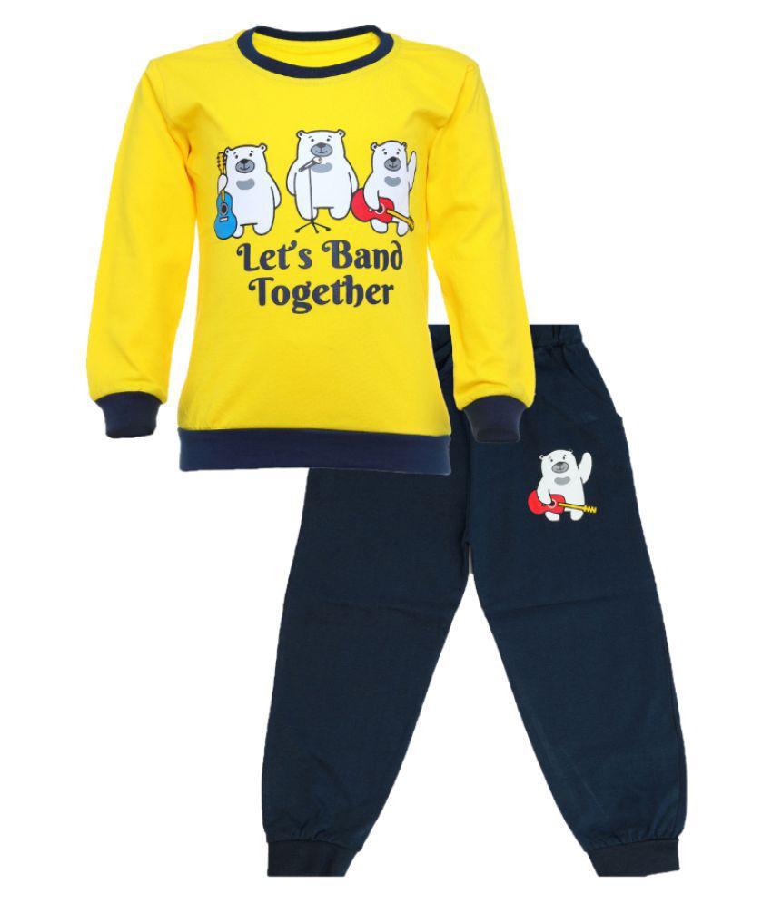 CATCUB Kids Cotton  Printed Clothing Set (Yellow)