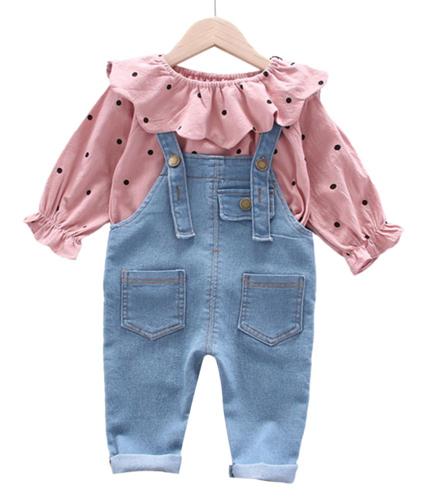 Hopscotch Baby Girls Cotton And Spandex Long Sleeves Polka Dots Overall Top & Pants Sets in Pink Color For Ages 12-18 Months (FB3-3407083)