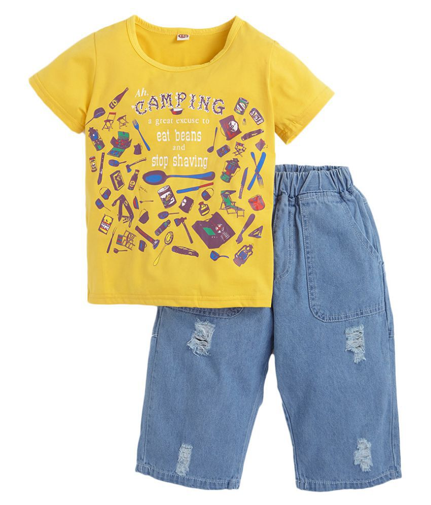 Hopscotch Boys Cotton And Fiber Cool Half Sleeves Art Printed T-Shirt And Jeans Set in Yellow Color For Ages 11-12 Years (SYB-3122744)