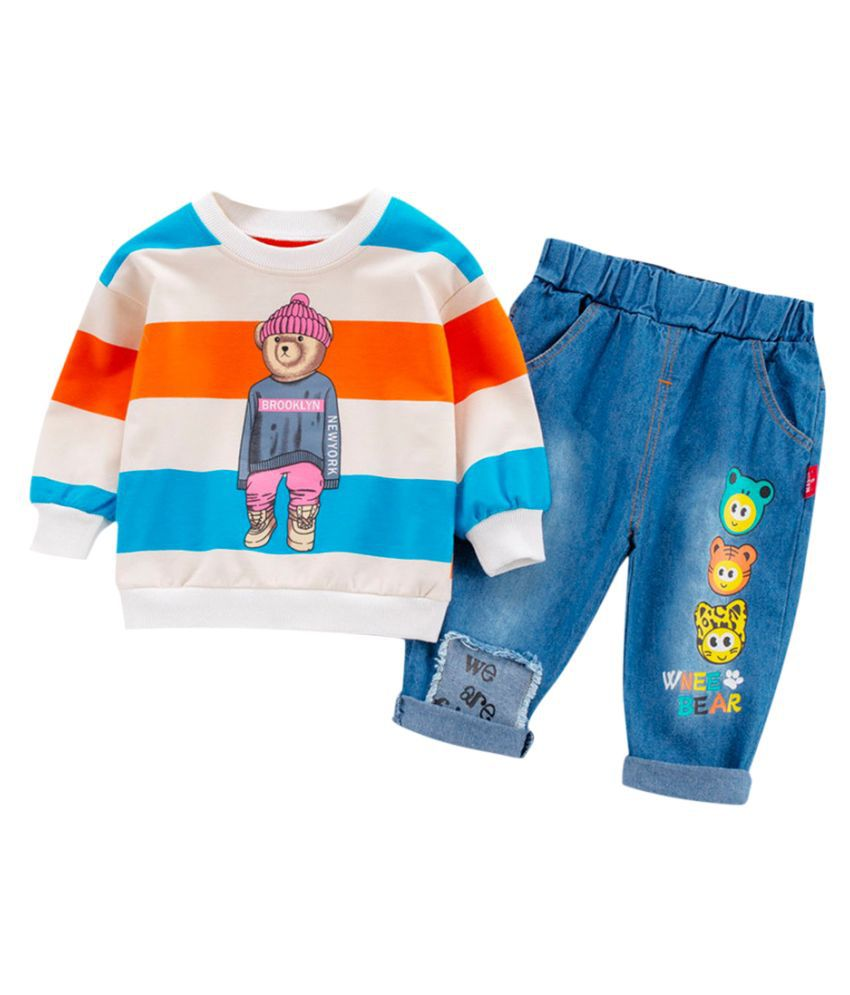 Hopscotch Boys Cotton And Spandex Long Sleeves Striped With Cartoon Printed T-Shirt And Jeans Set in Multi Color For Ages 2-3 Years (WER-3358204)