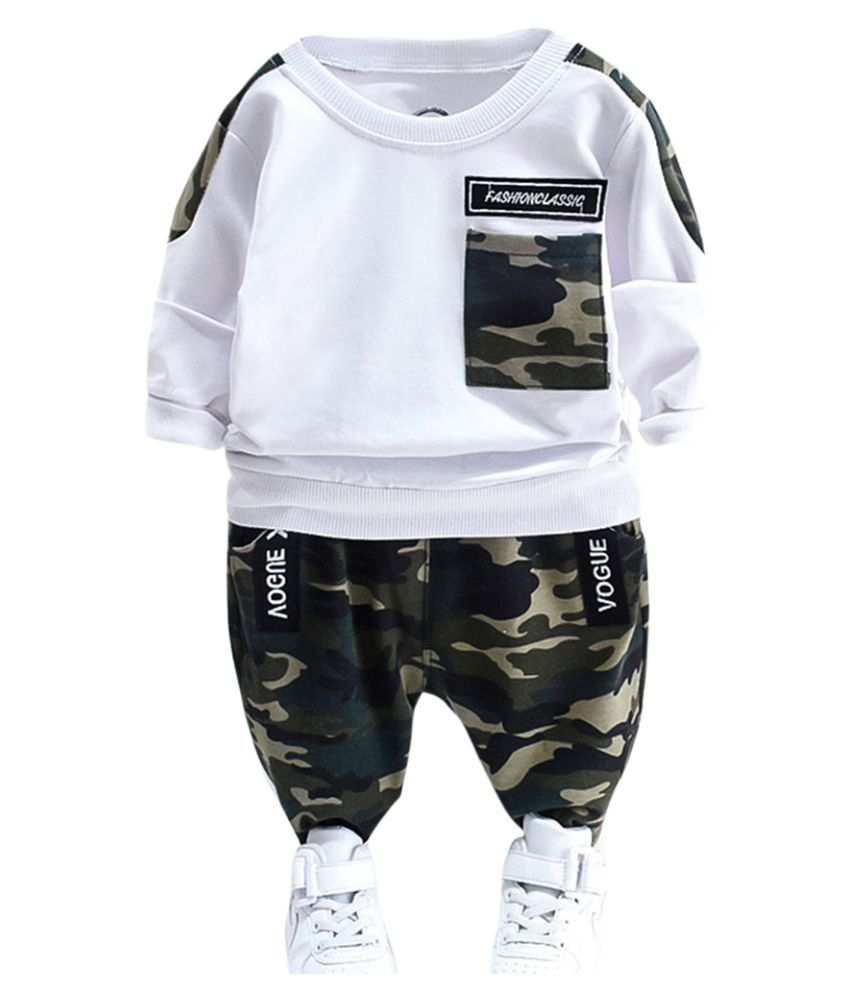 Hopscotch Boys Cotton And Spandex Full Sleeves Sweatshirt Camouflage Printed Joggers in White Color For Ages 3-4 Years (XHZ-3126033)