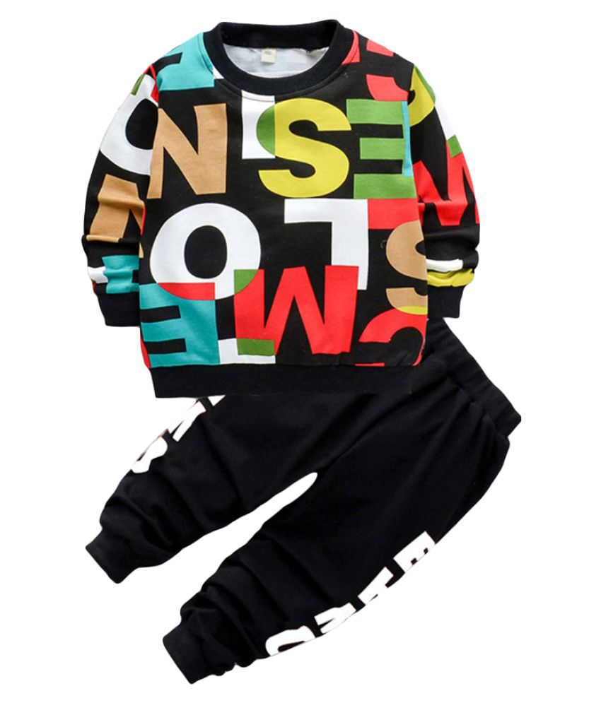 Hopscotch Boys Cotton And Spandex Full Sleeves Text Printed Sweatshirt And Jogger Set in Black Color For Ages 2-3 Years (MSR-3362857)