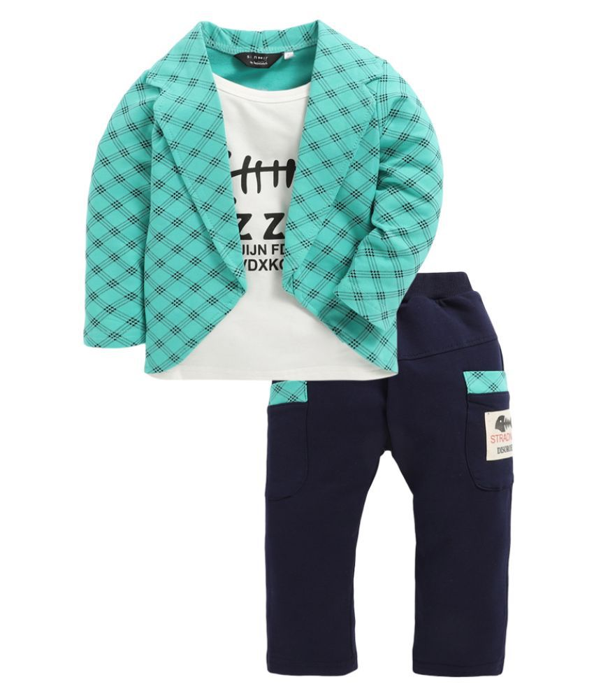 Hopscotch Boys Cotton, Polyester Text Print Full Sleeves Jacket And Pant Set in Multi Color For Ages 2-2.5 Years (ABL-1683580)