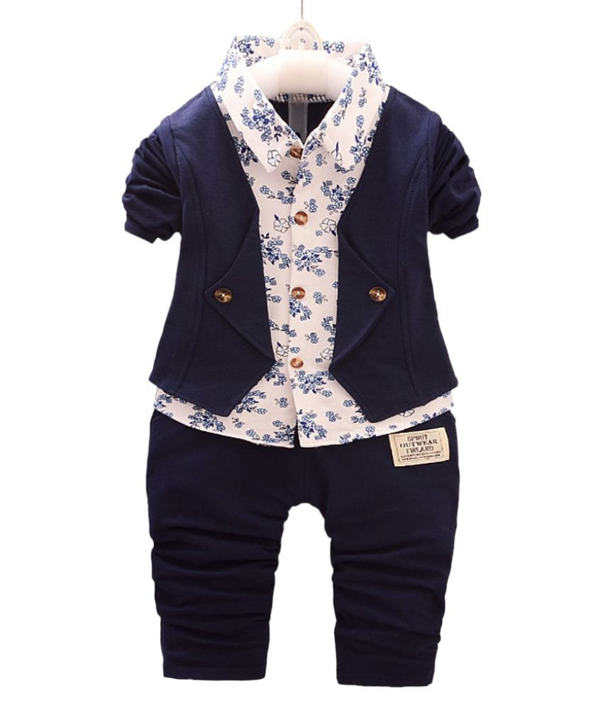 Hopscotch Boys Cotton, Spandex Solid Shirt And Pant Set in Navy Color For Ages 3-4 Years (SN-2620684)