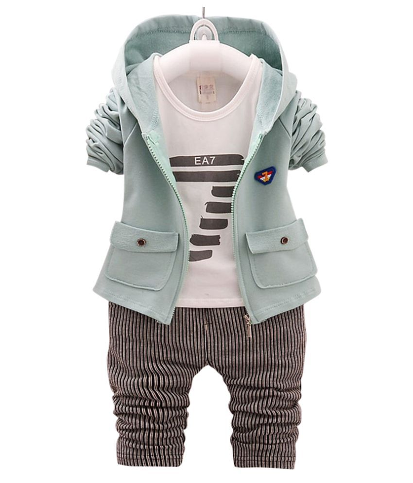 Hopscotch Boys Cotton Text Print Vertical Stripes Full Sleeves T-Shirt Hoodie And Pant Set in Green Color For Ages 3-3.5 Years (ABL-1623622)