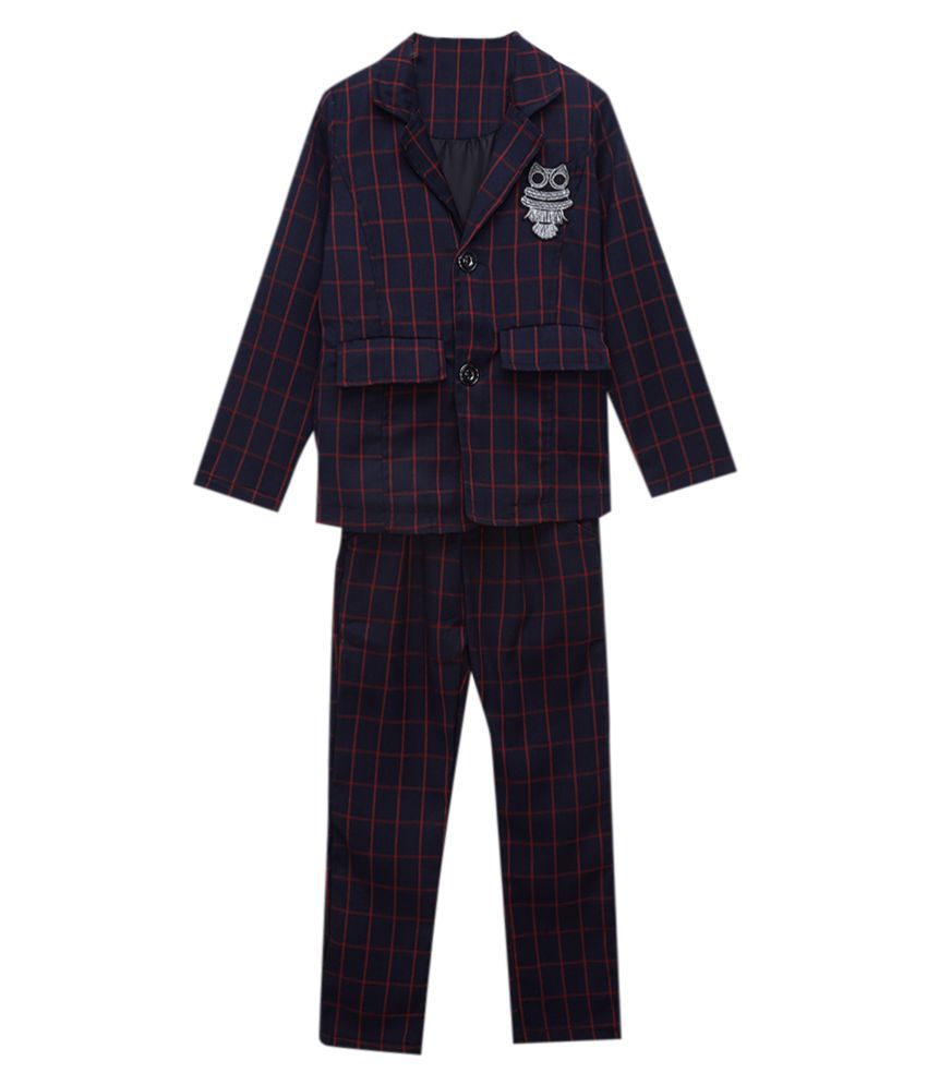 Hopscotch Boys Fiber Full Sleeves Checked Blazer And Pant Formal Set in Red Color For Ages 10-11 Years (XYG-3135133)