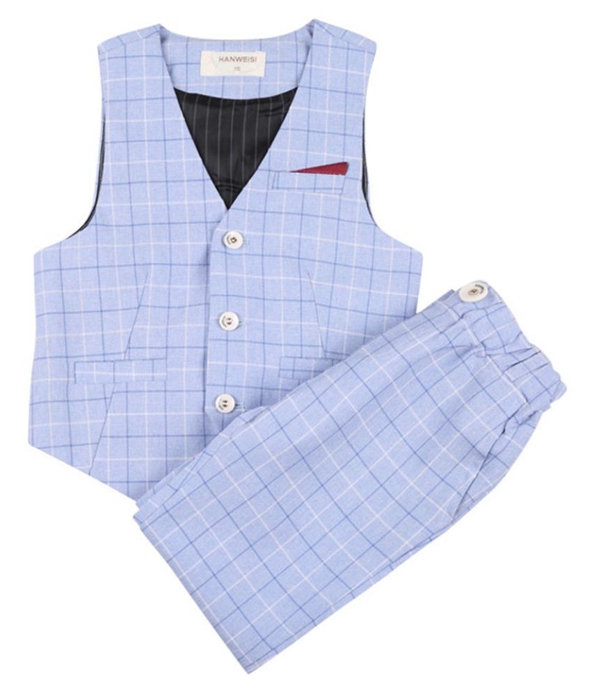 Hopscotch Boys Polyester And Cotton Checked Waistcoat & Pant Set in Blue Color For Ages 6-7 Years (HWT-3103379)