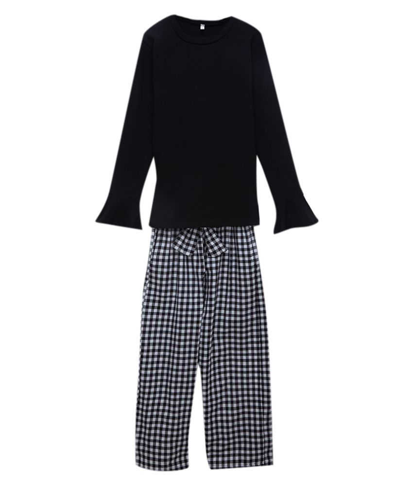 Hopscotch Girls Cotton And Fiber Full Sleeves Solid Top And Pant Set in Black Color For Ages 11-12 Years (LSM-3233278)