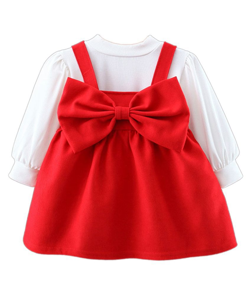 Hopscotch Girls Cotton And Polyester Long Sleeves Solid Overall & Dress Sets in Red Color For Ages 2-3 Years (MTQ-3421038)