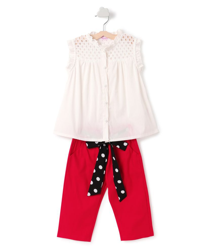 Hopscotch Girls Cotton And Polyester Cute Top And Pant Set in Red Color For Ages 2-3 Years (RAO-2297670)