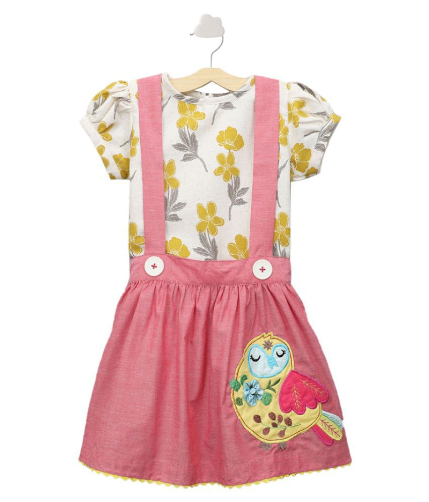 Hopscotch Girls Cotton And Spandex Embroidered Skirt With Floral Printed Blouse And Buttons in Red Color For Ages 2-3 Years (SE-3336599)