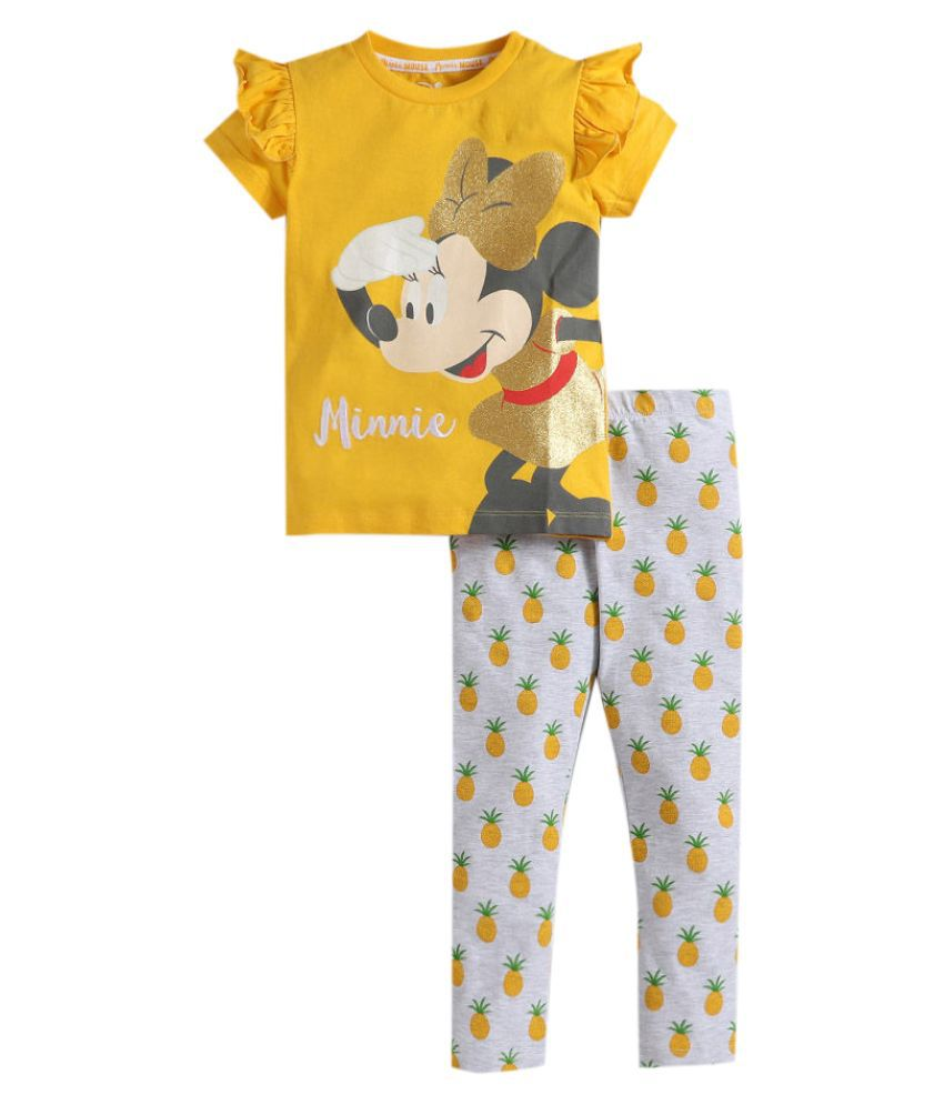 Hopscotch Girls Cotton Cap Sleeves Minnie Printed Tshirt With Printed Leggings in Yellow Color For Ages 13-14 Years (LCU-3281461)