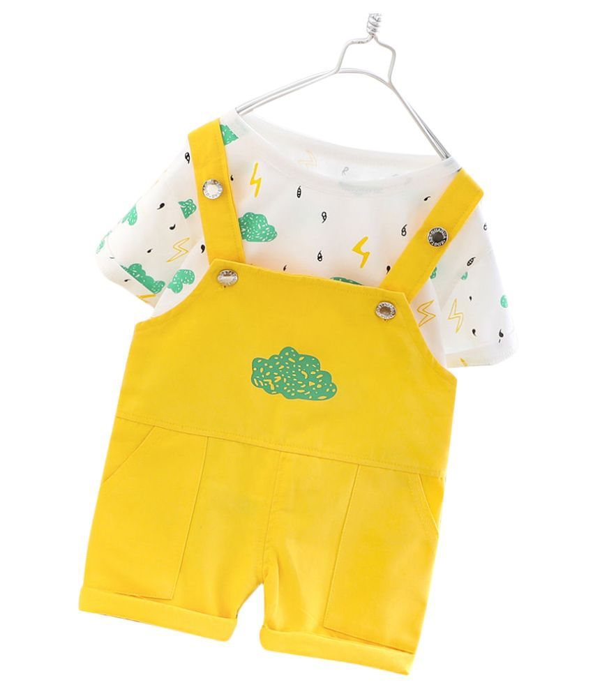 Hopscotch Girls Cotton Half Sleeves Art Printed Top And Dungaree Overall & Dress Set in Yellow Color For Ages 5-6 Years (YEN-3429264)