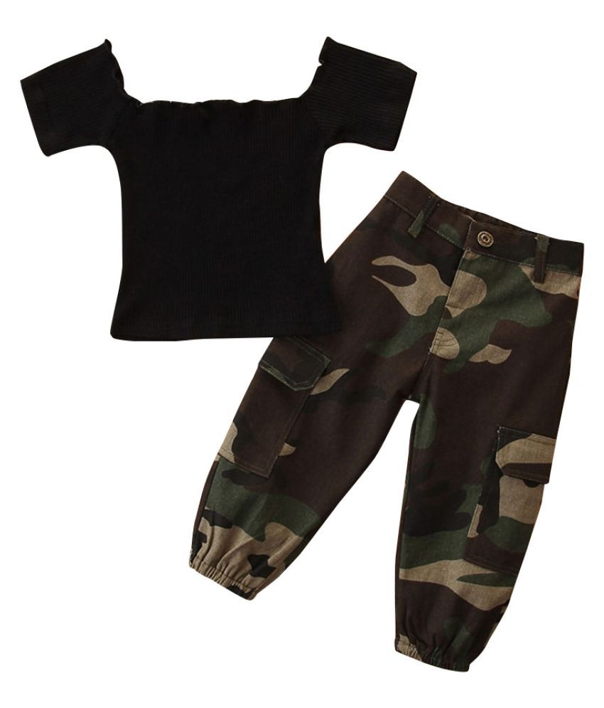 Hopscotch Girls Cotton Top With Camouflage Printed Pant Set in Black Color For Ages 2-3 Years (SB9-3072395)