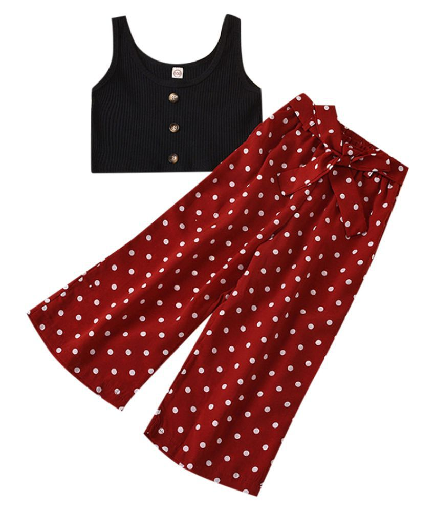 Hopscotch Girls Polyester And Cotton Sleeveless Solid Top And Pant Set in Black Color For Ages 4-5 Years (YZK-3136421)