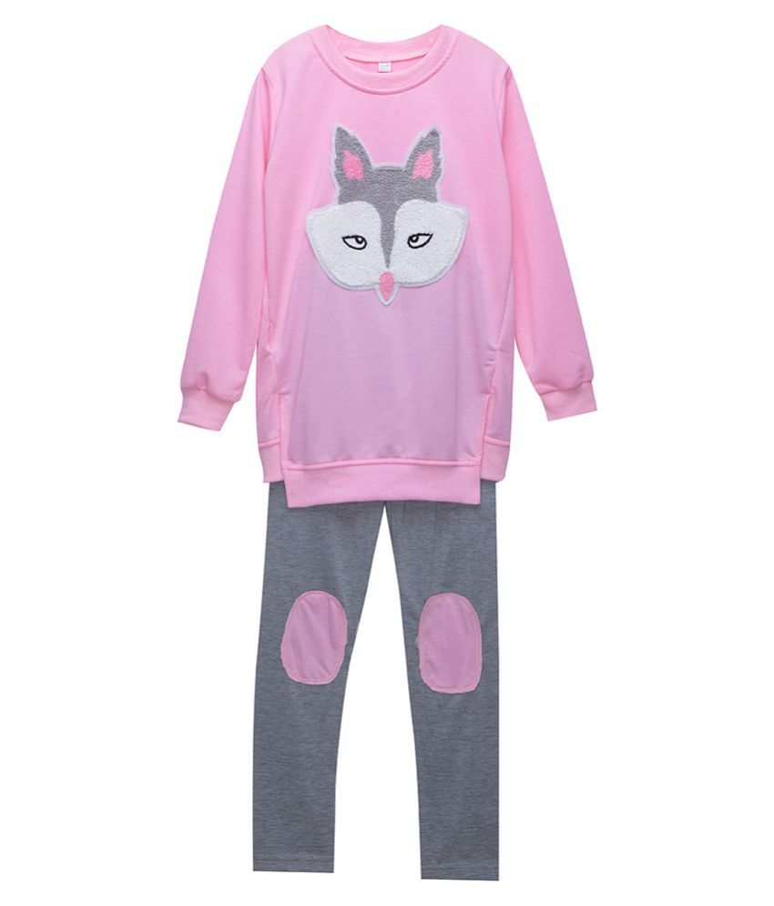 Hopscotch Girls Polyester Full Sleeves Applique Animal Top And Legging Set in Pink Color For Ages 7-8 Years (XYG-3157198)