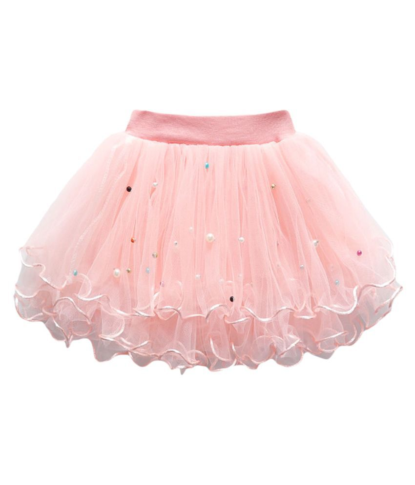 Hopscotch Girls Polyester Solid Skirt in Pink Color For Ages 2-3 Years (ADX-3142650)