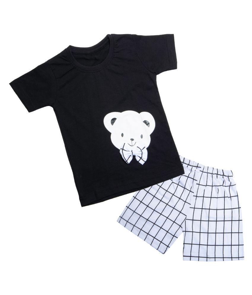 CATCUB Kids Cotton Teddy Printed Clothing Set (Black)