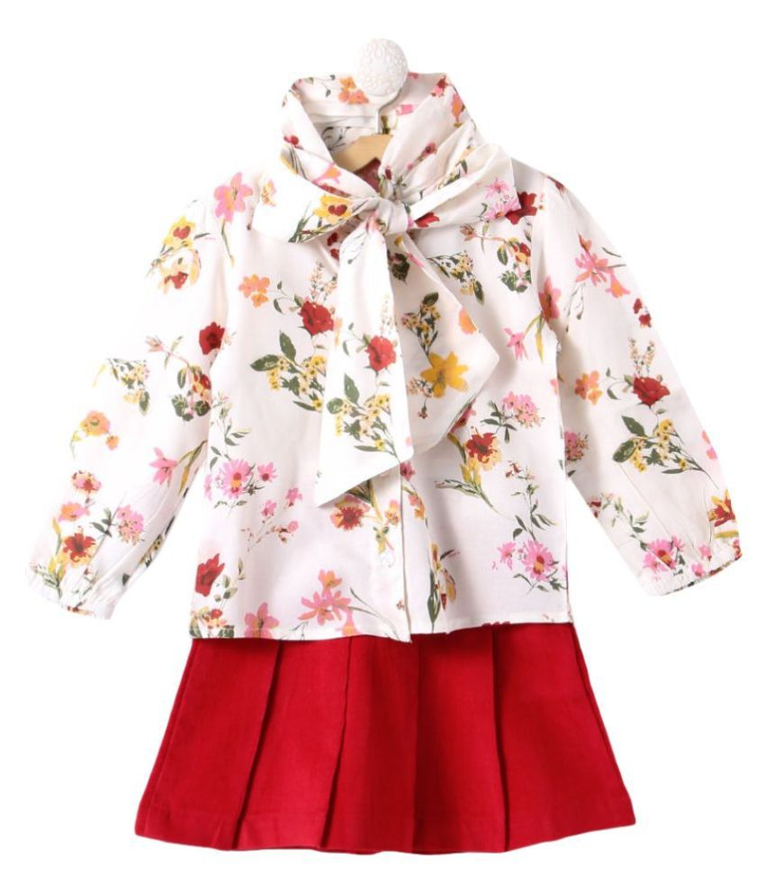Hopscotch Baby Girls Cotton Stylish Flower Printed Top With Skirt in Red Color For Ages 18-24 Months (PCL-1705577)