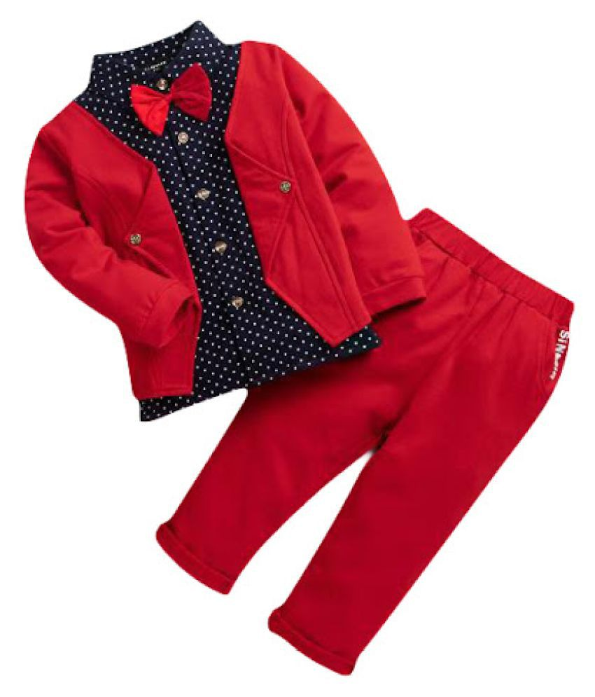 Hopscotch Boys Cotton And Polyester Applique Bow Formal Shirt And Pant Set in Red Color For Ages 2-3 Years (LTL-1989285)