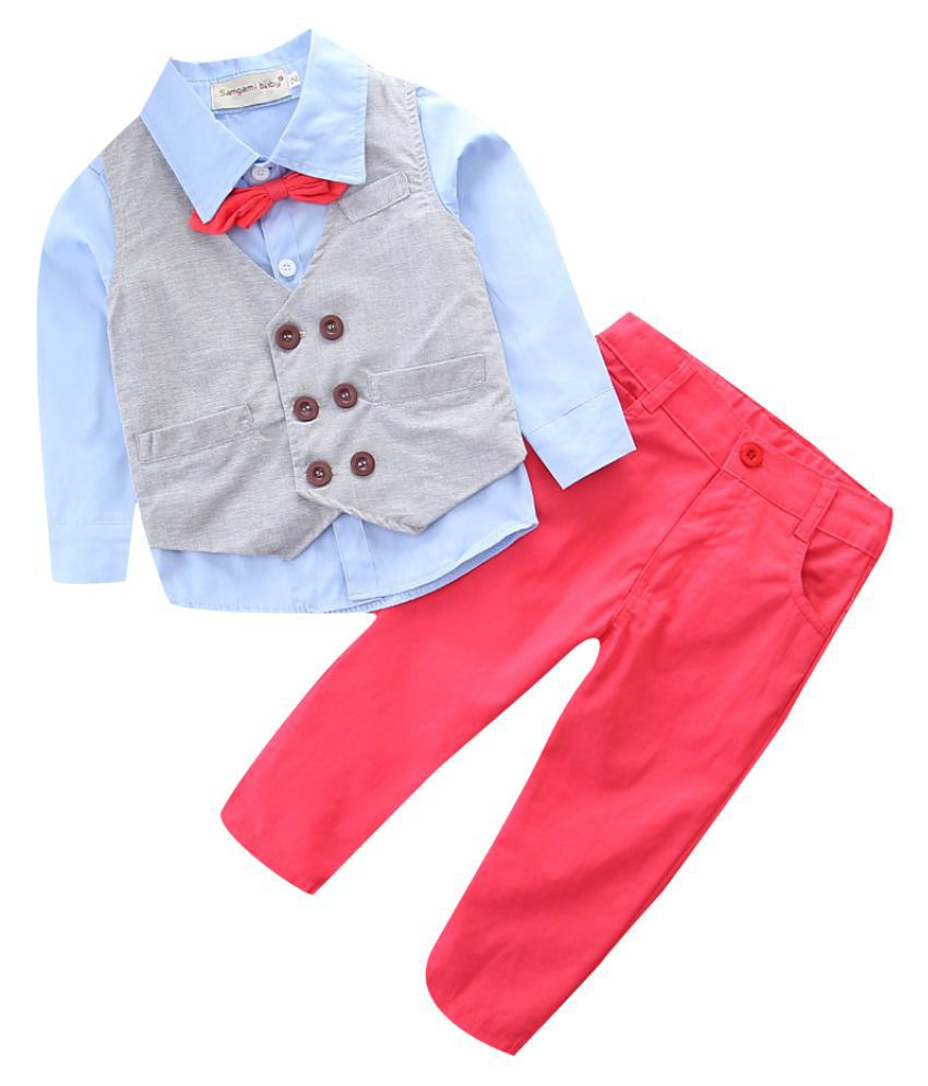 Hopscotch Boys Cotton, Polyester Bow Applique Shirt And Pant Set With Waistcoat in Blue Color For Ages 5-6 Years (SB9-2125822)