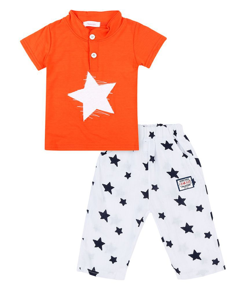 Hopscotch Boys Cotton and Spandex T-Shirt And Pant Sets in Orange Color For Ages 3-4 Years (BCC-2383926)