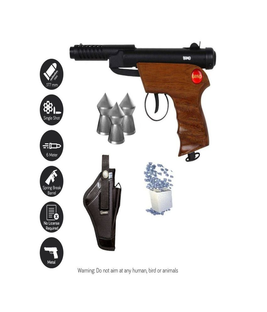 BOND WOODEN HANDLE AIR PISTOL WITH 100 PELLETS FREE