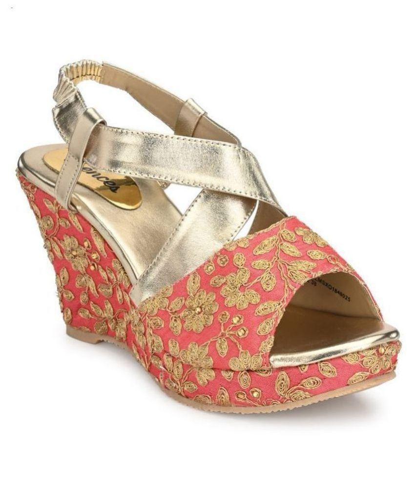 SHENCES Pink Wedges Heels
