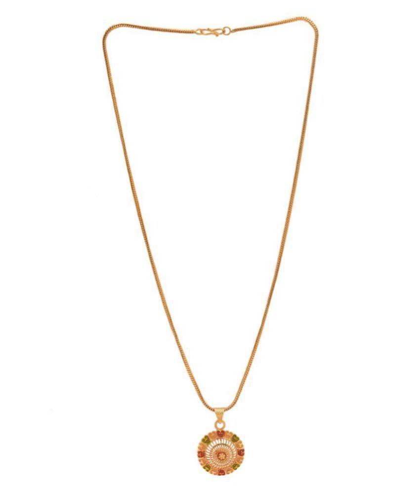 Jewar Mandi Pendant Meena Work Round (Gol) SurajMukhi Locket Chain Gold Plated Rich Look Long Size Latest Designer Daily Use Jewelry for Men Women, Boys Girls, Unisex
